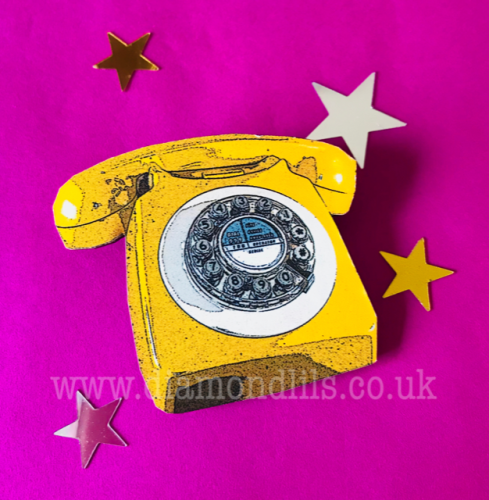 'Call On Me' Yellow Wooden Retro Telephone Brooch