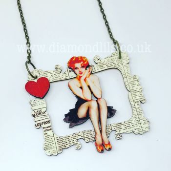 Picture This Wooden Pin-Up Necklace