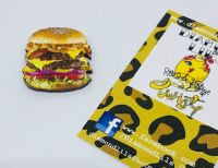 Bacon Double Cheeseburger Wooden Brooch