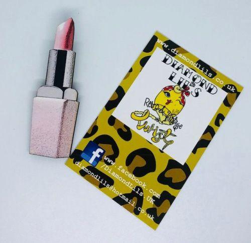 'Candyfloss Pink' Lipstick Wooden Brooch