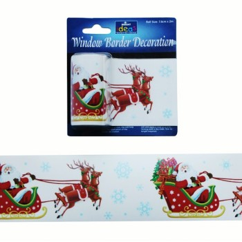 Santa & Sleigh Window Border Decoration - 7.5cm x 2m - Pack of 2