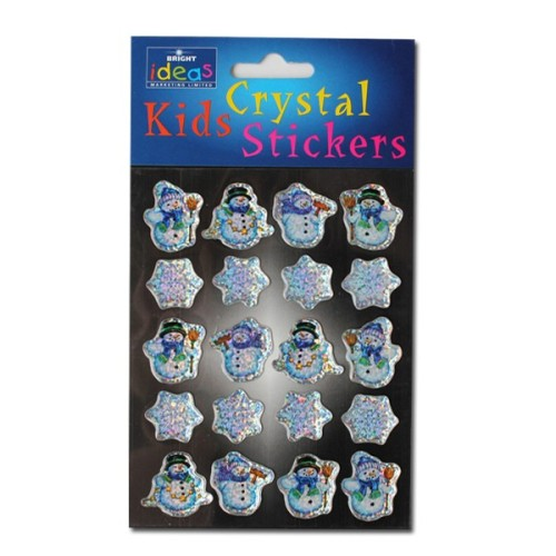 Snowman & Star Crystal Stickers - Assorted - Pack of 20 -  AVAILABLE AUGUST