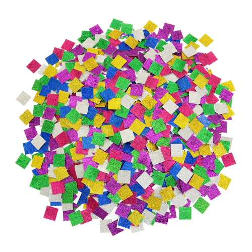 Glitter Mosaic Jumbo Card Squares - Assorted - 25mm - Pack of 2000