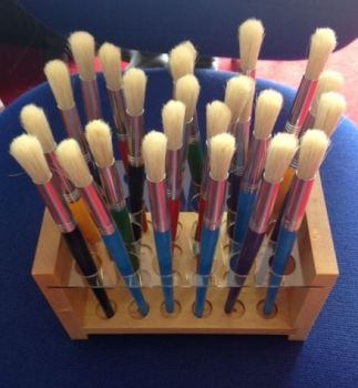 Chunky Paint Brushes in Wooden Brush Holder - Pack of 24