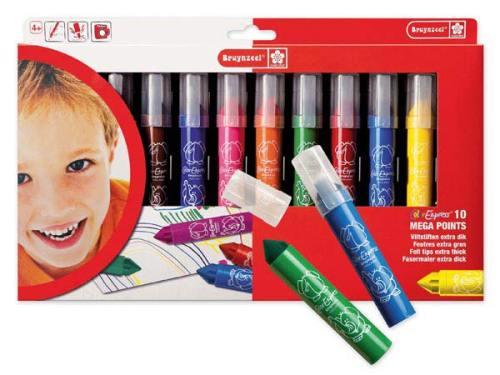 Mega Points Fibre Tip Colouring Pens - Assorted - Pack of 10