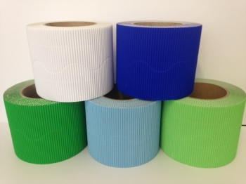 Corrugated Border Rolls - Cool Colours - Educraft Scalloped Wavy Edge - 57mm x 7.5m - Assorted - Pack of 10