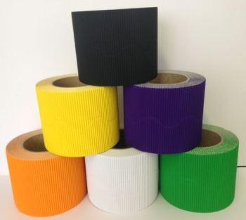 Corrugated Border Rolls - Halloween - Educraft Scalloped Wavy Edge - 57mm x 7.5m - Assorted - Pack of 12