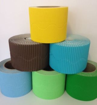 Corrugated Border Rolls - Earth & Forest - Educraft Scalloped Wavy Edge - 57mm x 7.5m - Assorted - Pack of 12