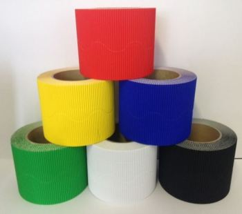 Corrugated Border Rolls - Basic Colours - Educraft Scalloped Wavy Edge - 57mm x 7.5m - Assorted - Pack of 12
