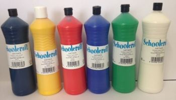 Basic Colours Ready Mixed Paint Set - Assorted - 6 x 600ml - Pack of 6