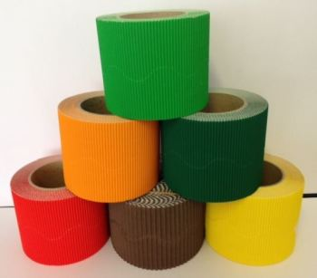 Corrugated Border Rolls - Autumn - Educraft Scalloped Wavy Edge - 57mm x 7.5m - Assorted - Pack of 12