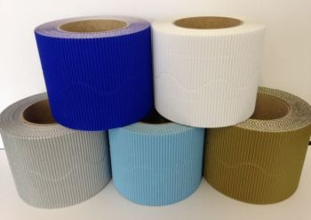 Corrugated Border Rolls - Frozen - Educraft Scalloped Wavy Edge - 57mm x 7.5m - Assorted - Pack of 10