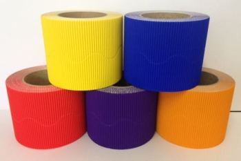 Corrugated Border Rolls - Hot Colours - Educraft Scalloped Wavy Edge - 57mm x 7.5m - Assorted - Pack of 10