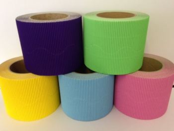 Corrugated Border Rolls - Spring Colours - Educraft Scalloped Wavy Edge - 57mm x 7.5m - Assorted - Pack of 10