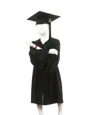 Childrens Black Graduation Gown & Cap - Please Select Size - Per Set