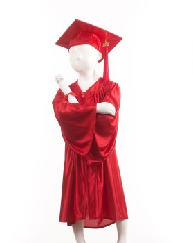 Childrens Red Graduation Gown & Cap - Please Select Size - Per Set