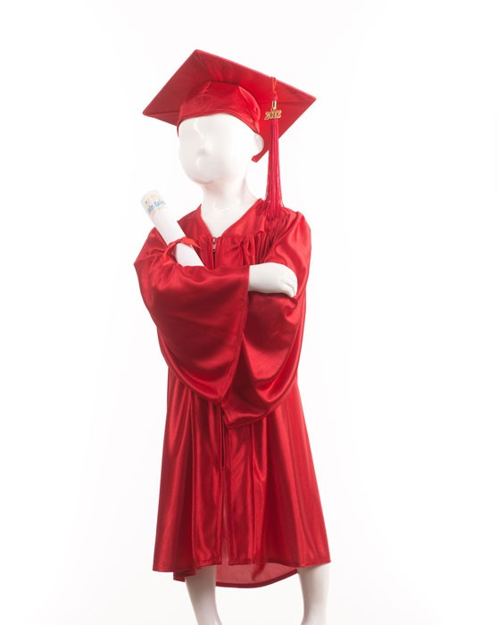 Childrens Traditional Red Style Gown & Cap - Please Select Size - Per Set