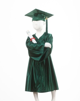 Childrens Forest Green Graduation Gown & Cap - Please Select Size - Per Set