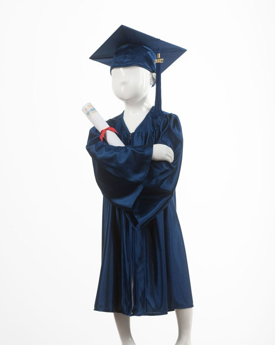 Childrens Traditional Navy Blue Style Gown & Cap - Please Select Size - Per
