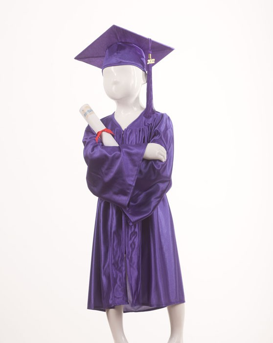 Childrens Traditional Navy Purple Style Gown & Cap - Please Select Size - P