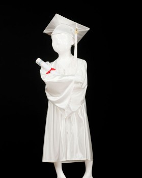 Childrens White Graduation Gown & Cap - Please Select Size - Per Set