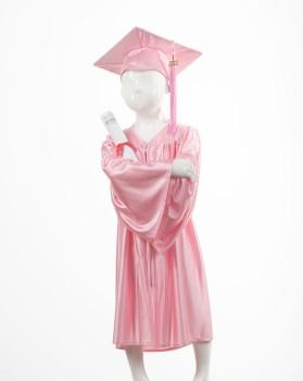 Childrens Pink Graduation Gown & Cap - Please Select Size - Per Set