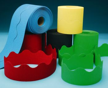 Corrugated Border Rolls - Bright - Educraft Scalloped Wavy Edge - 57mm x 7.5m - Assorted - Pack of 10