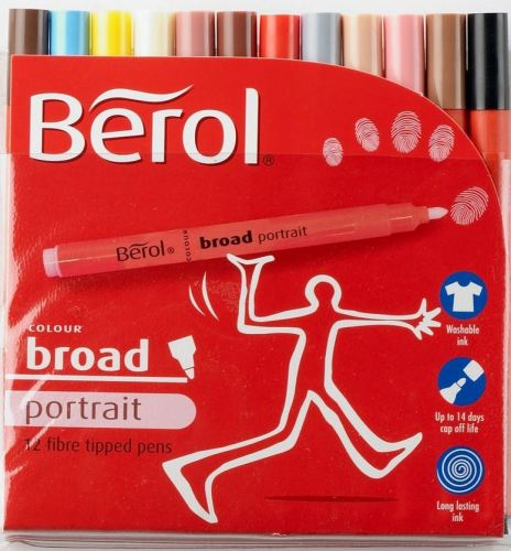 Berol Colour Broad Portrait People Colouring Pens - Assorted - Pack of 12