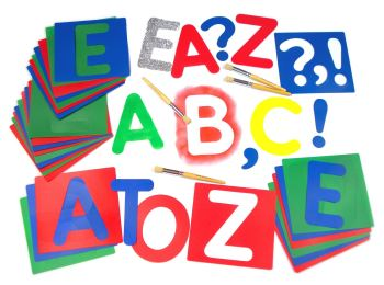 Alphabet Large Lower Case Letter Washable Stencils - Assorted - 17 x 12cm - Pack of 27
