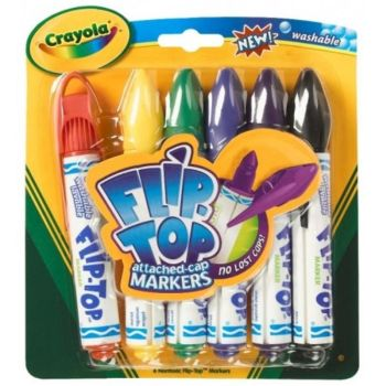Crayola Flip Top Colouring Pens - Assorted - Pack of 6