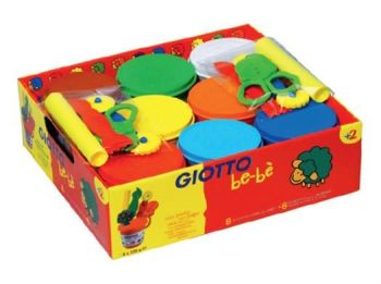 Giotto Be-Be' Modelling Dough - Assorted - Pack of 8 + 8 Tools - 2 Years+