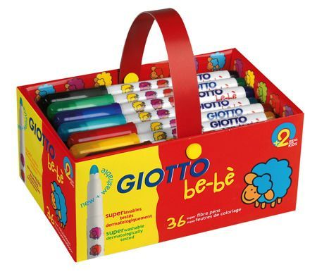 Giotto Be-Be' Super Fibre Tipped Pens - Assorted - School Pack of 36 - 2 ye