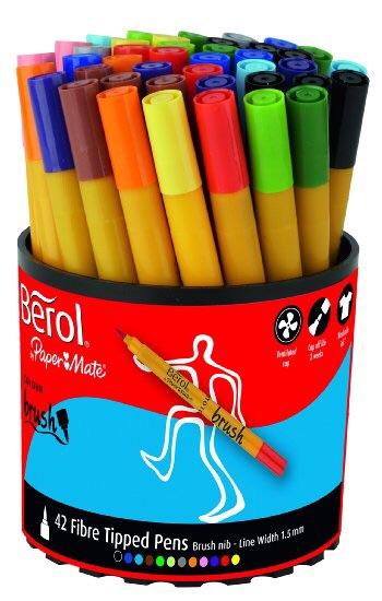 Berol Colour Brush Colouring Pens - Assorted - Tub of 42