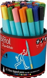 Berol Colour Fine Colouring Pens - Assorted - Tub of 42