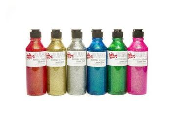 Glitter Ready Mixed Paint Set - Assorted - Pack of 6 x 300ml