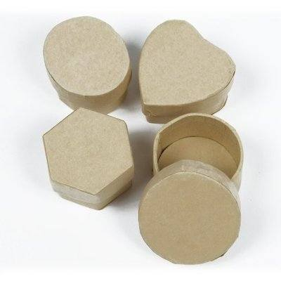 Mini Papier Mache Collage Boxes - Assorted Shapes - 3cm - Pack of 4