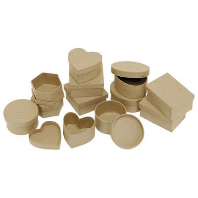 Papier Mache Collage Boxes - Assorted Shapes - Approx 6cm -  Pack of 12