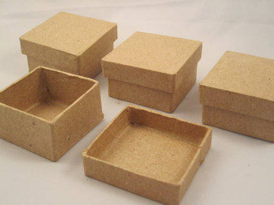 Papier Mache Collage Boxes - Square - Approx 6cm - Pack of 12