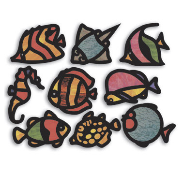 Fish Cellophane Stained Glass Frames - Assorted - Pack of 24