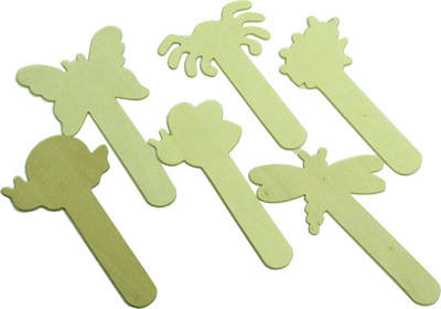 Bugs Wooden Craft Sticks - Assorted - Pack of 6