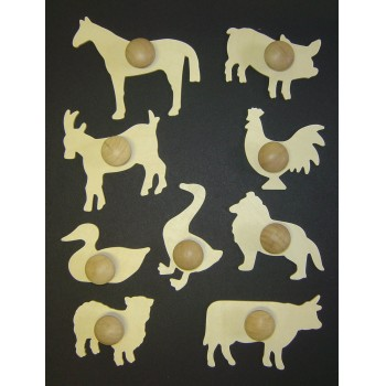 Farm Animals Wooden Templates - Assorted - Set of 9