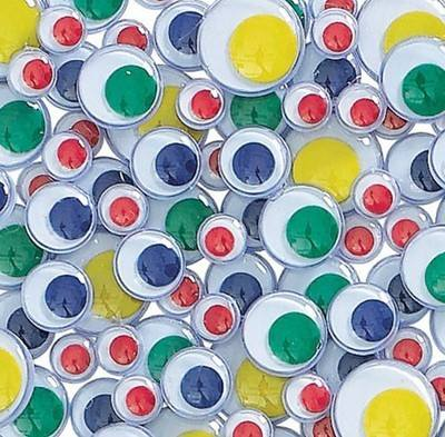 Self Adhesive Coloured Wiggly Eyes - Assorted - Pack of 100