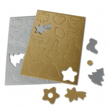 Metallic Corrugated Christmas Shapes - Pack of 39