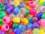 Beads - Coloured Round Barrel - Assorted - Tub of 500