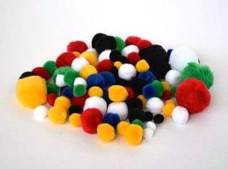 Pom-Poms - Assorted - Pack of 100