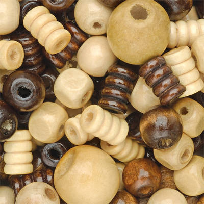 Wooden Beads - Assorted - Tub of 300