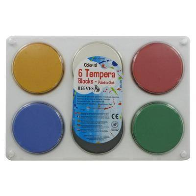 Reeves Tempera Colour Blocks - Assorted - Pack of 6 + Palette