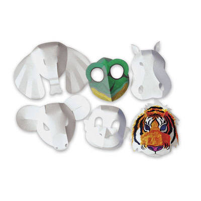 Zoo Animals Folding Fun Card Masks - Assorted - Pack of 30