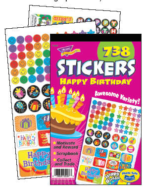 Happy Birthday Sticker Reward Pad - Assorted - Pad of 738