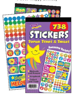 Super Stars & Smiles Sticker Reward Pad - Assorted - Pad of 738